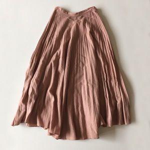 Vintage Pink Blush Accordion Pleat Wool Maxi Skirt